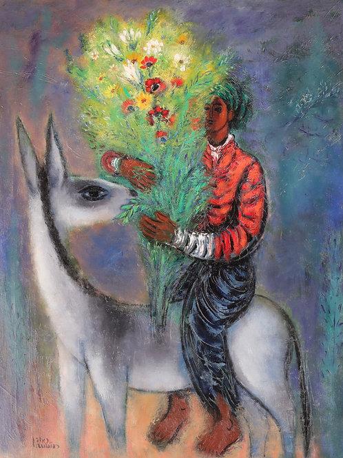Reuven Rubin   Rider with bouquet, 1962