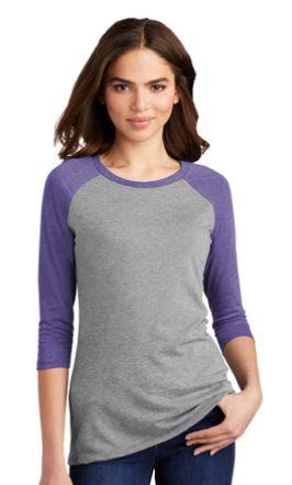 District Raglan Tshirt Ladies Grey with Purple Arms
