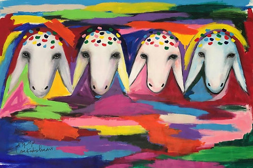 Menashe Kadishman  Four sheep heads