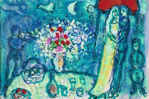 Marc Chagall Bouquet et fruits pour les maries, 1975