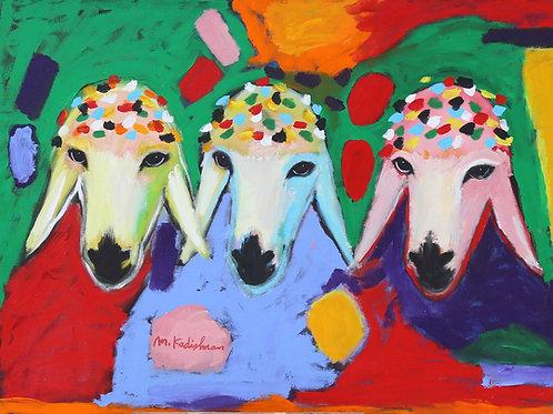Menashe Kadishman  Three sheep heads