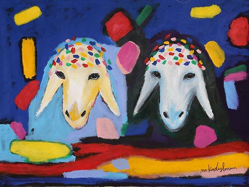 Menashe Kadishman  Two sheep heads