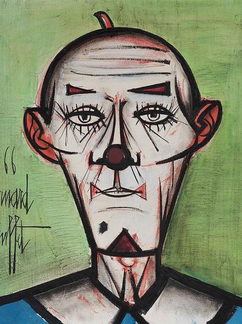 Bernard Buffet   Clown Chauve Fond Vert, 1966