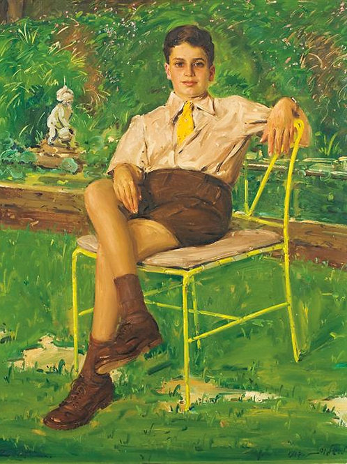 Ludwig Blum   Portrait of a seated child in a garden, 1947