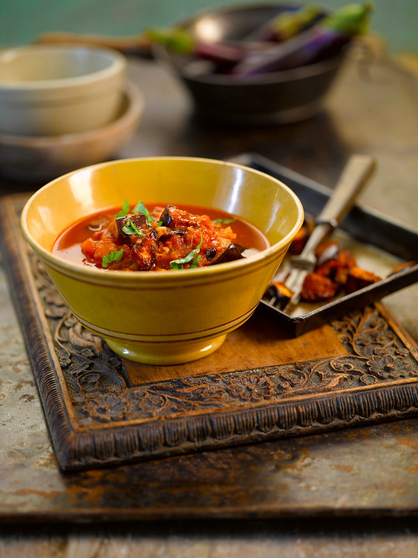 smokey tomato aubergine soup