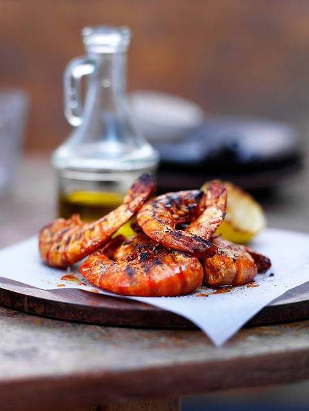 Giant tiger prawns with garlic, smoked p