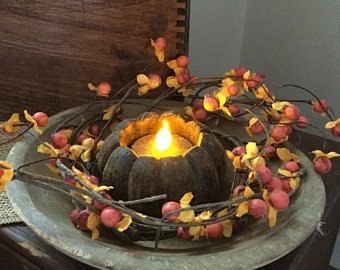 Blackened Beeswax Autumn Pumpkin Flicker Tea Light""