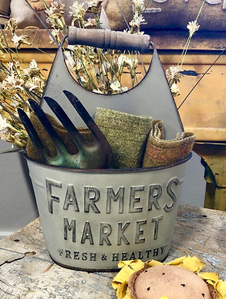 NEW!  Vintage Farmers Market Metal Double Tote
