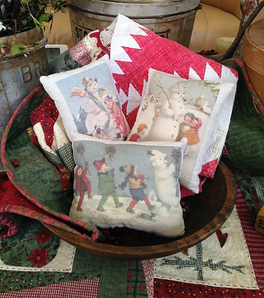 "Olde Vintage ""Snow Trio"" Set Pantry Pillows"