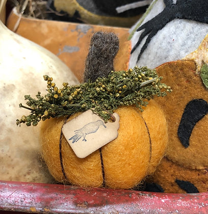 NEW!  Hand Felted Wool Pumpkin Small
