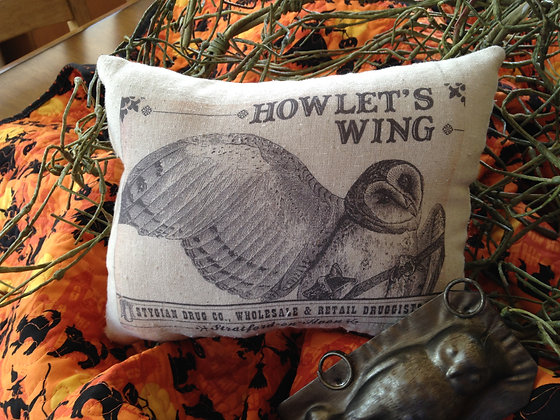 """Vintage """"Howlet's Wing"""" Pantry Pillow"""