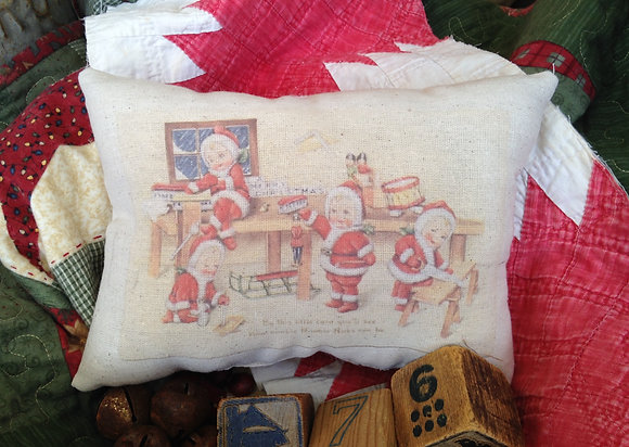 "Olde Vintage ""Elves"" Pantry Pillow"