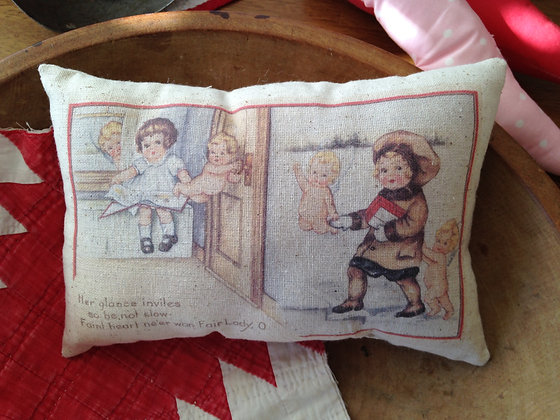"Vintage ""Her Glance"" Pantry Pillow"