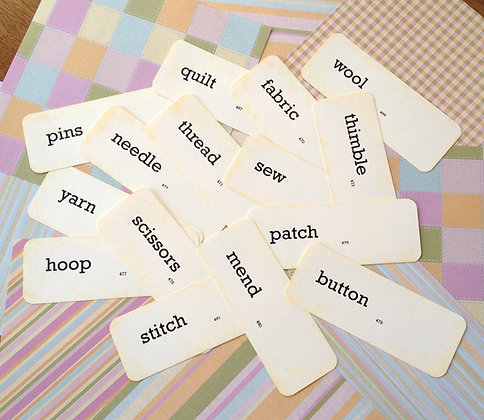 Olde Vintage School SEWING/QUILT Flash Cards