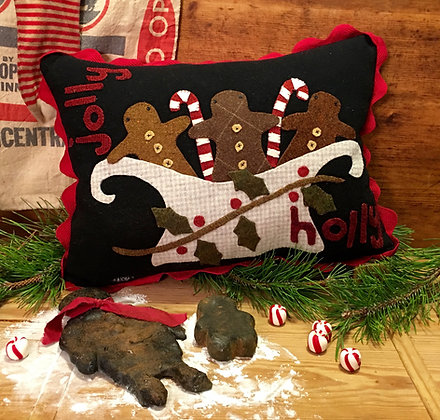 """#304 """"Jolly Holly"""" Wool Applique Pillow"""