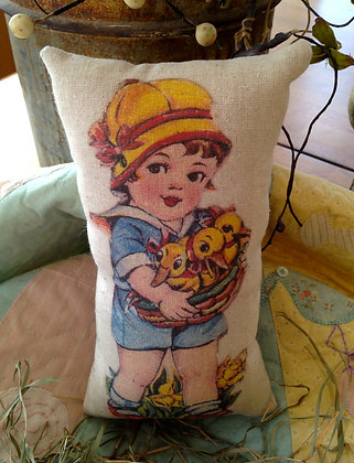 "Vintage ""Gathering Chicks"" Pantry Pillow"