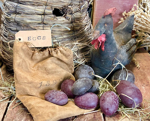 """NEW!  """"Olde Farm Brown & Red Wax Eggs Set"""""""