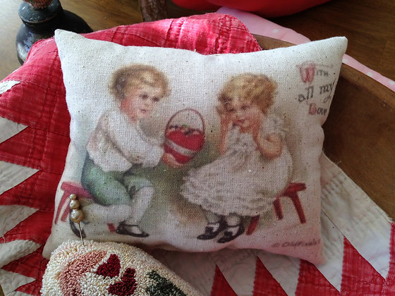 "Vintage ""With All My Heart"" Pantry Pillow"