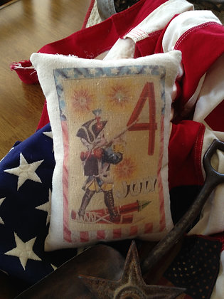 "Vintage ""July the Fourth"" Pantry Pillow"