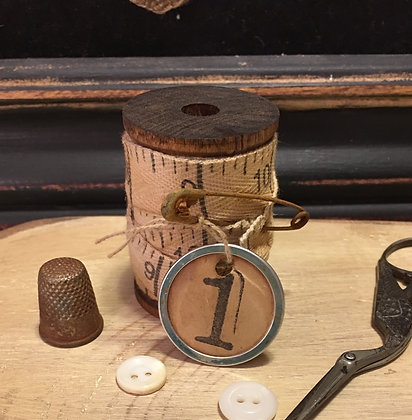 "NEW!  Olde Vintage Wood Spool/Measuring Tape ""1"""