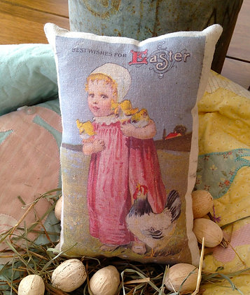 """Vintage """"Best Wishes for Easter"""" Pantry Pillow"""
