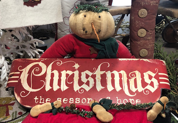 "NEW!  Olde Vintage ""Christmas The Season Of Hope"" Sign"