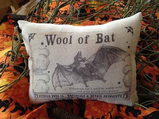 """Vintage """"Wool of Bat"""" Pantry Pillow"""