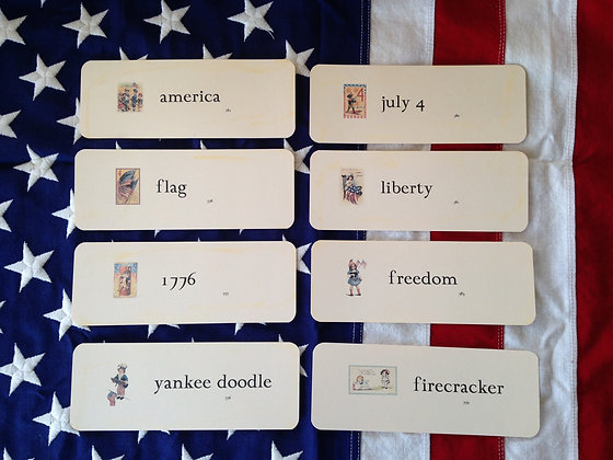 Olde Vintage School  Large AMERICA Flash Cards