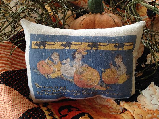 """Olde Vintage """"Jack-O-Lantern"""" Pantry Pillow"""