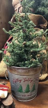 "NEW!  Olde Vintage ""Holly Jolly Farm"" Christmas Tree Pail"