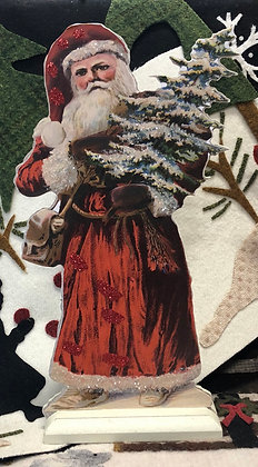 NEW!  Olde Vintage Santa With Tree Dummy Board