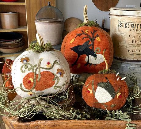 """NEW!  #282 """"Van Tassel's Pumpkins"""" Wool Applique"""