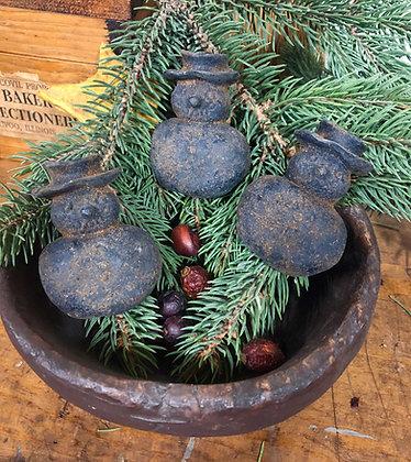 Blackened Beeswax Snowman Bowl Filler