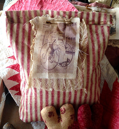 """Two by Two"" Very Primitive Sawdust Pillow"