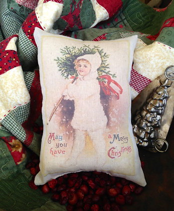 """Olde Vintage """"Merry Christmas"""" Pantry Pillow"""