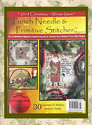 """NEW!  """"Punch Needle & Primitive Stitcher"""" 2018 Christmas/Winter Issue"""
