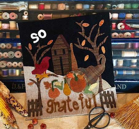 """#343 """"So Grateful"""" November Wool Block"""