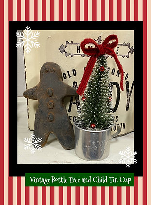 "NEW!  ""Vintage Bottle Tree and Child Tin Cup"" Mary Had A Little Lamb"