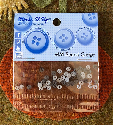 """NEW!  """"Greige"""" Micro Mini Round Buttons"""