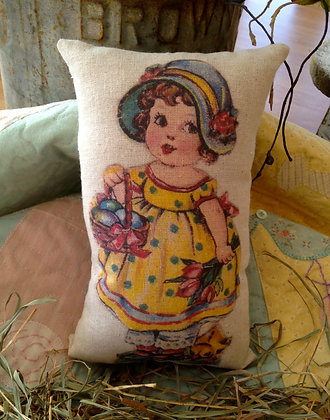 "Vintage ""Gathering Eggs"" Pantry Pillow"