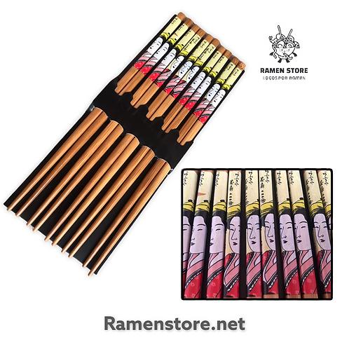 Set Palillos Bambu Diseño Oriental