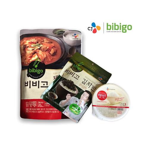 Pack kimchi jjigae, Arroz y alga CJ~ BIBIGO