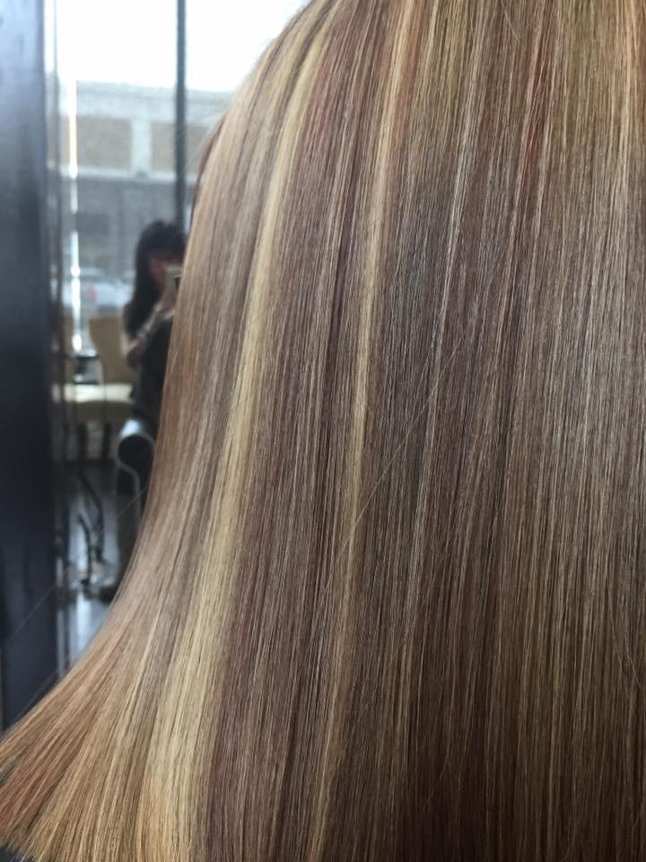 Brunette Hair and Golden Highlights