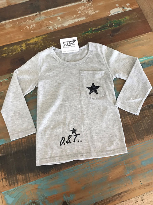 Star Long sleeve Tee - Grey