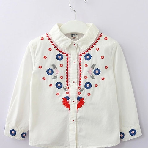 Floral embroidered Collar shirt White