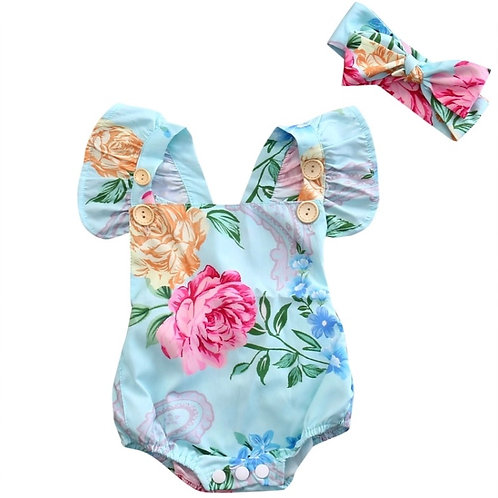 Blue floral romper with head band