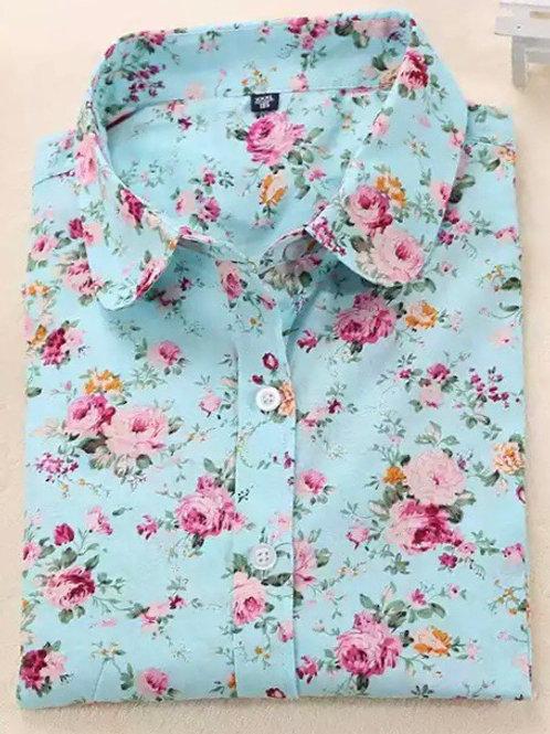 Blue peony roses shirt