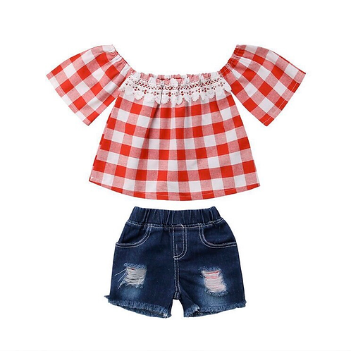 Off-shoulder gingham with shorts