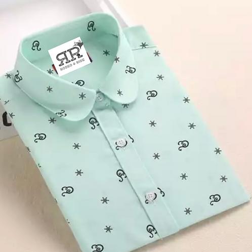 Mint green long sleeve collar shirt