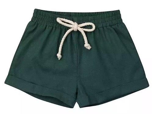 Linen shorts - bottle green